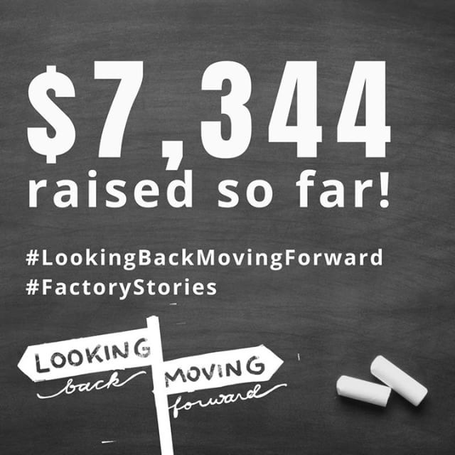 Fundraising update!  Thanks to your generous gifts, $ 7,344 has been raised since August 1st to empower individuals and families in our community! Thank you for your support!  That is 15% of our $50,000 goal.  Join the team moving forward!  Visit http://tiny.cc/lookingBACKmovingFORWARD to give today! #LookingBackMovingForward #FactoryStories