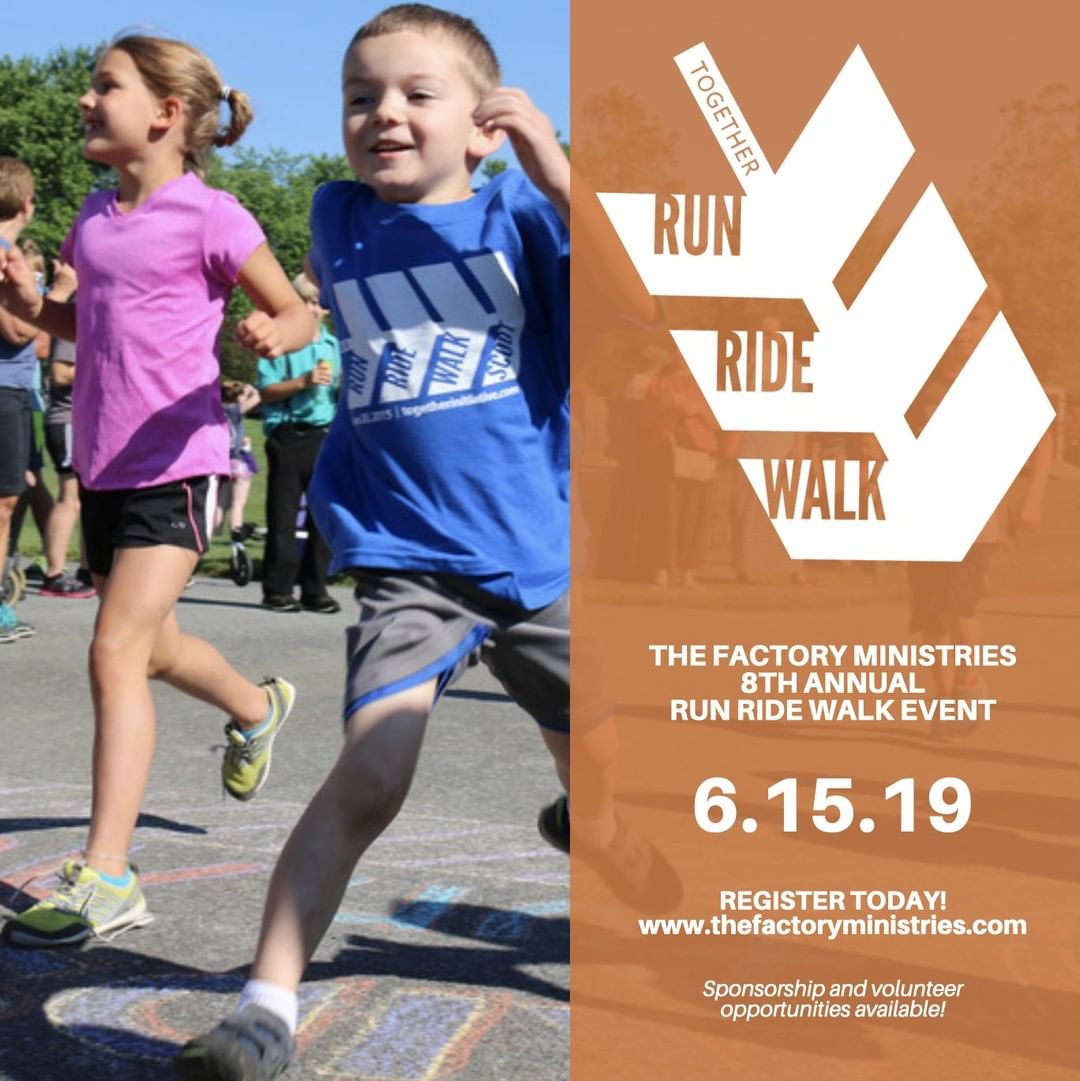 Join us for The Factory Ministries' Run Ride Walk as we enjoy our eighth year at Intercourse Heritage Days on Saturday, June 15!  Your support of the Run Ride Walk will help The Factory Ministries continue their mission of empowering others to strengthen their community. All participants who register by the t-shirt cut off date, May 26th, will receive a T-shirt. Breakfast is available to purchase at 6:30am, and then put your legs to work for the 5k race, walk, and two bike rides. Visit www.thefactoryministries.com to register today!  Sponsorship and volunteer opportunities are available for this event! If you are interested in partnering with us through sponsorship, contact kate@thefactoryministries.com. If you are interested in volunteering, visit www.thefactoryministries.com/get-involved