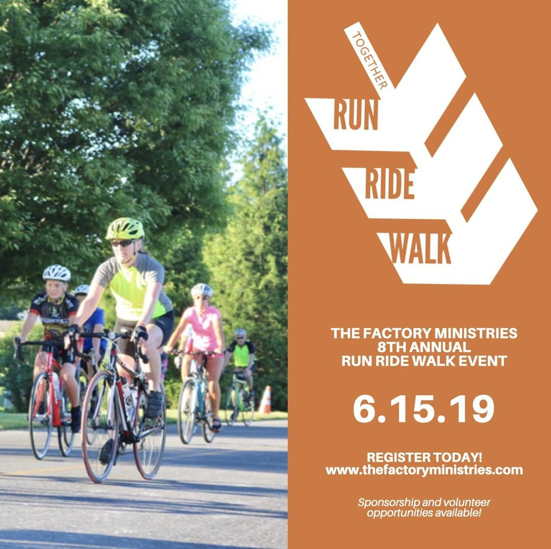 Join us for The Factory Ministries Together Run Ride Walk at Intercourse Heritage Days on Saturday, June 15, 2019! The Together Run Ride Walk consists of a 5k race and walk, Kids Fun Run, and two bike rides. Registration for each event can be found at www.thefactoryministries.com. All participants who register by May 26th will receive a free t-shirt.  All proceeds from the Together Run Ride Walk will directly benefit individuals and families in eastern Lancaster County through The Factory Ministries, helping to continue our mission of empowering others to strengthen their community.