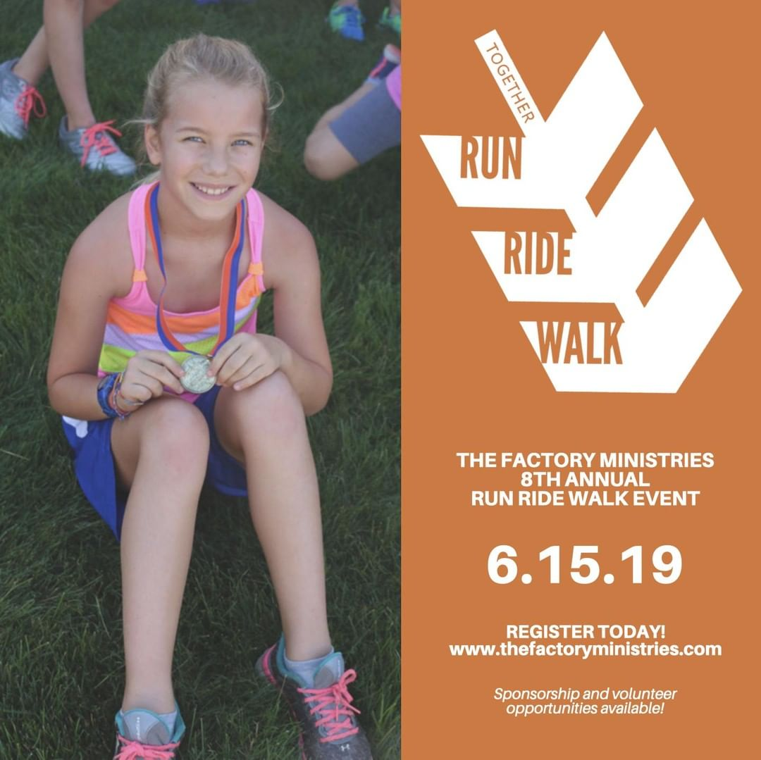 Register for The Factory Ministries Together Run Ride Walk event today to get your free t-shirt. We can't wait to see you there!  For more information, visit www.thefactoryministries.com