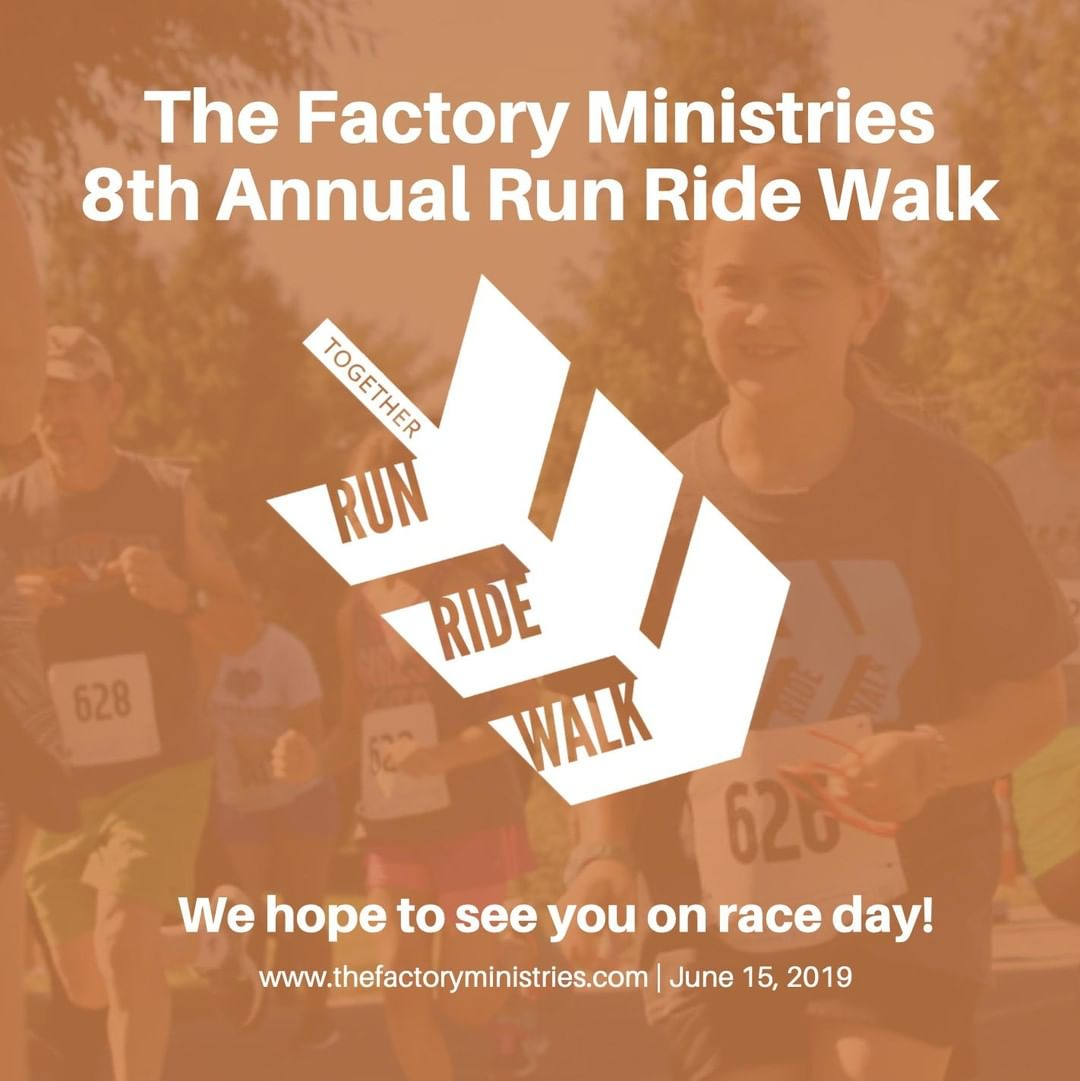 It may be dreary outside today, but it's going to be beautiful on Saturday for Run Ride Walk 😄 Visit www.thefactoryministries.com for information on how you and your family can register for the event!