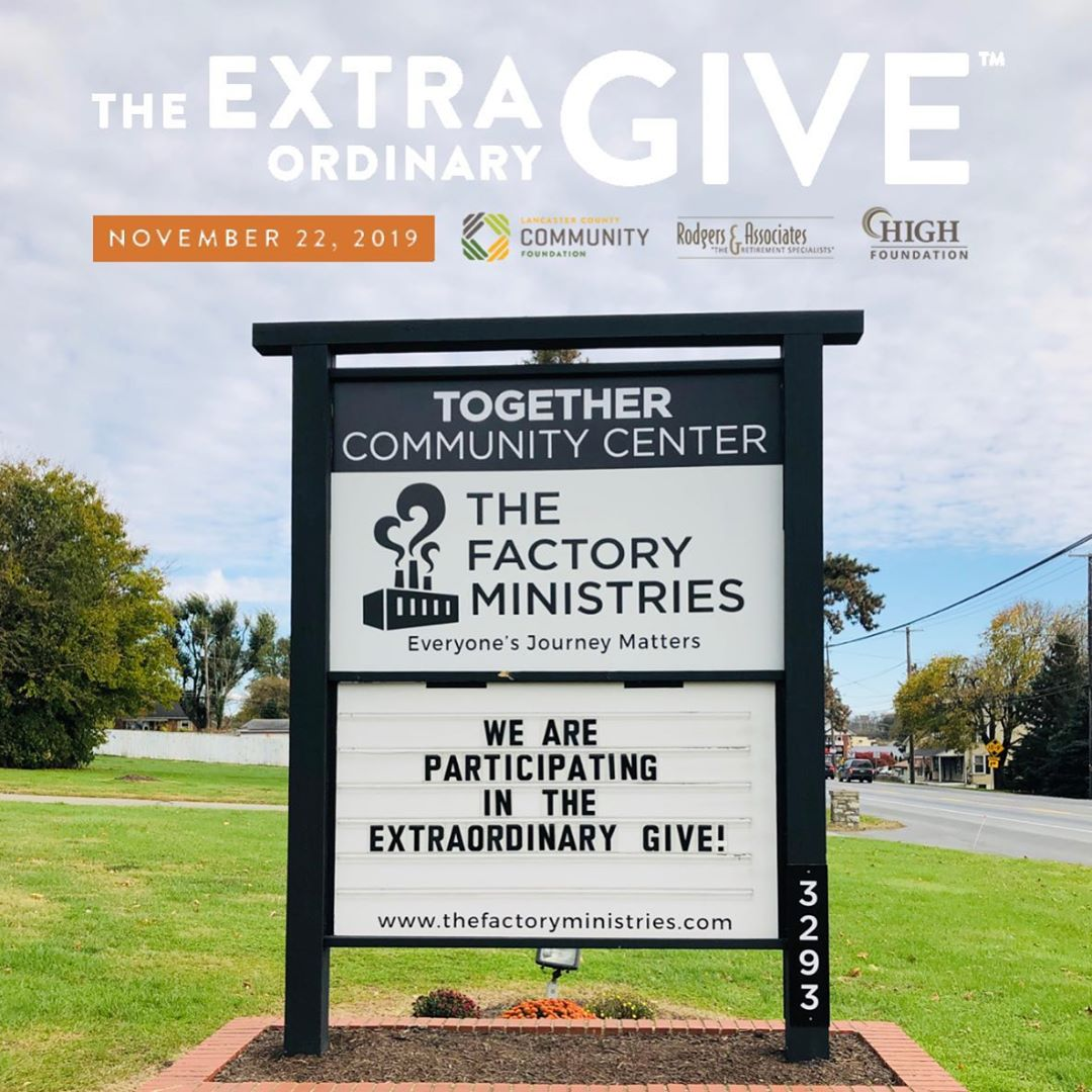 The Extraordinary Give is only a few short weeks away! Stay tuned for all of the ways you can support The Factory community on Lancaster's largest day of giving. Your gifts empower children, teens, and families in the Pequea Valley School District!