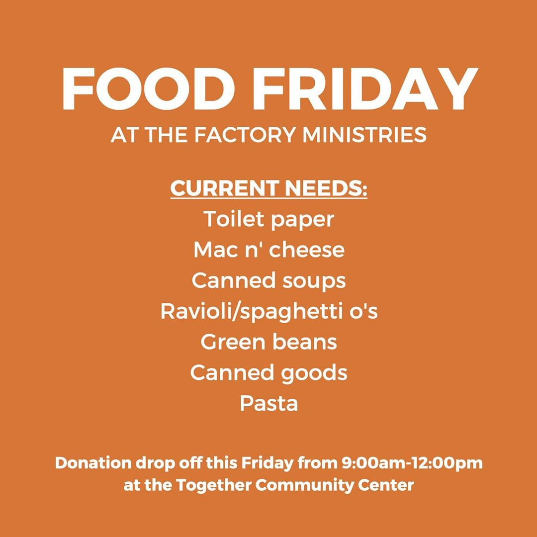 Food Friday donation drop off is tomorrow, friends!! Bring all food donations to the TCC between 9AM-12PM tomorrow morning! All donations that come in through Food Friday help to feed families in the Pequea Valley community. During this challenging season, we are so thankful to partner with you in caring for our neighbors and friends.  If you would prefer to make a monetary gift to The Factory Market, visit the link in our bio! Thank you for your investment in our community! 🧡