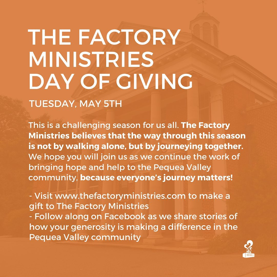 Join us tomorrow for The Factory's Day of Giving ???? Your gifts are making a difference! Ware in this together.
